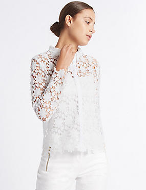 Floral Lace Long Sleeve Shirt, SOFT WHITE, catlanding
