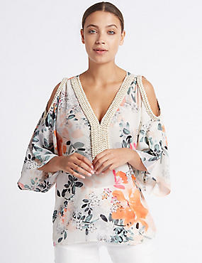 Floral Print Cold Shoulder V-Neck Tunic , IVORY MIX, catlanding