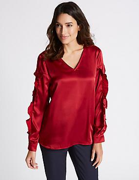 V-Neck Ruffle Sleeve Blouse, RED, catlanding