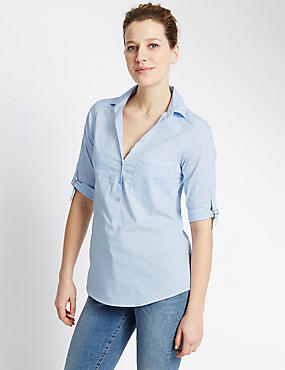 3/4 Sleeve Popover Striped Shirt, CHAMBRAY MIX, catlanding