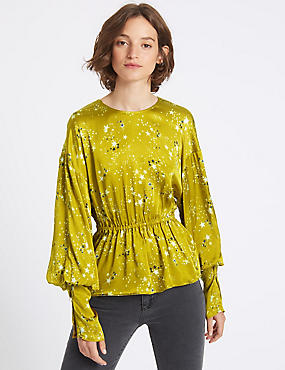 Star Print Drawstring Peplum Shell Top, GREEN MIX, catlanding