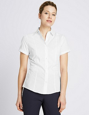 Collared Neck Short Sleeve Shirt, WHITE, catlanding