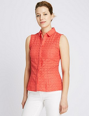 Pure Cotton Broderie Shirt, CORAL, catlanding