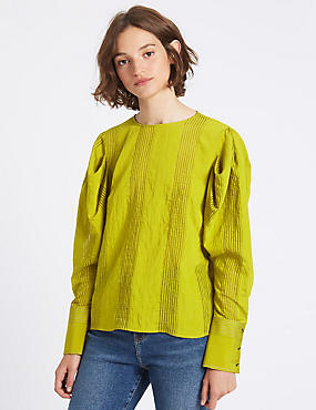 Striped Round Neck Puff Sleeve Blouse, LIME, catlanding