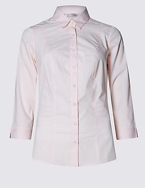 Overhemd voor de vollere boezem, LICHTROZE, catlanding