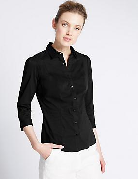 Overhemd voor de vollere boezem, ZWART, catlanding