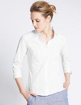Overhemd voor de vollere boezem, WIT, catlanding