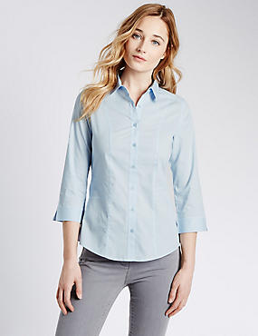 3/4 Sleeve Shirt, PALE BLUE, catlanding