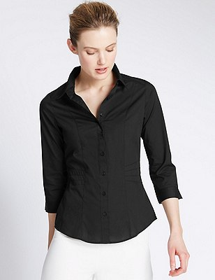 3/4 Sleeve Shirt, BLACK, catlanding