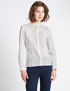 Pure Cotton  Lace Blouse, IVORY MIX, catlanding