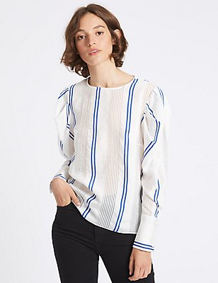 Striped Round Neck Puff Sleeve Shell Top, WHITE MIX, catlanding