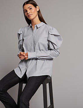 Pure Cotton Striped Shrimp Sleeve Shirt, IVORY, catlanding
