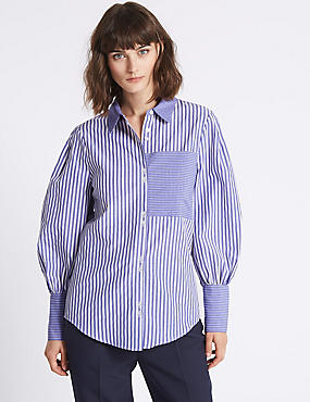Cotton Blend Striped Long Sleeve Shirt, BLUE MIX, catlanding