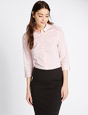 Cotton Blend 3/4 Fuller Bust Sleeve Shirt, LIGHT PINK, catlanding