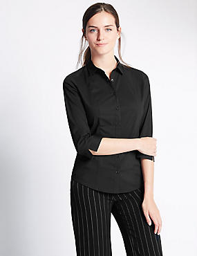 Cotton Blend 3/4 Fuller Bust Sleeve Shirt, BLACK, catlanding