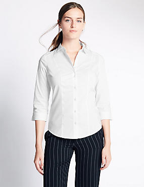 Cotton Blend 3/4 Fuller Bust Sleeve Shirt, WHITE, catlanding