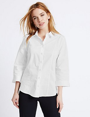 PETITE Cotton Rich 3/4 Sleeve Shirt, WHITE, catlanding