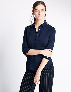 Cotton Blend 3/4 Sleeve Shirt, NAVY, catlanding