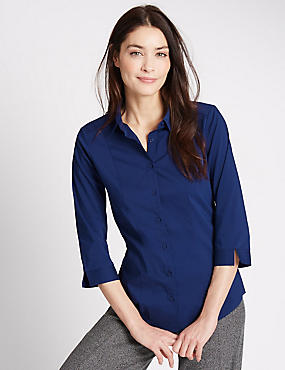 Cotton Blend 3/4 Sleeve Shirt, RICH BLUE, catlanding
