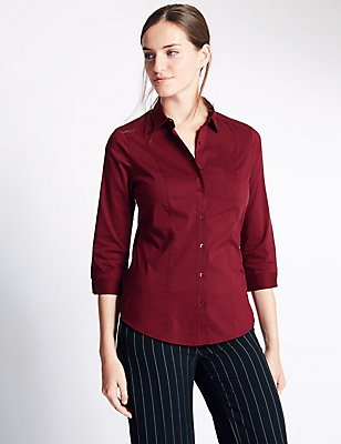 Cotton Blend 3/4 Sleeve Shirt, BURGUNDY, catlanding