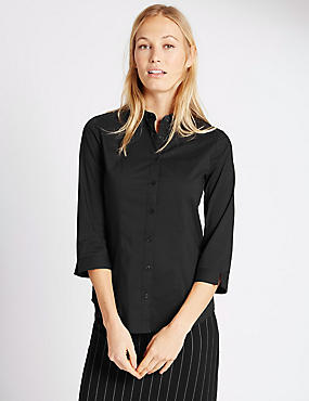 Cotton Blend 3/4 Sleeve Shirt, BLACK, catlanding
