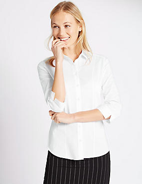 Cotton Blend 3/4 Sleeve Shirt, WHITE, catlanding