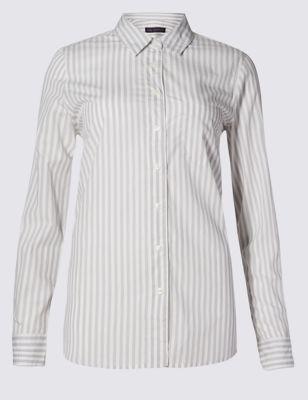 Офисная рубашка из чистого хлопка в полоску