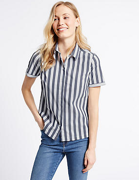 Cotton Rich Striped Short Sleeve Shirt, NAVY MIX, catlanding