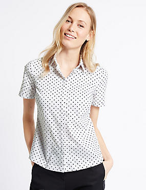 Cotton Rich Spotted Fuller Bust Shirt, WHITE MIX, catlanding