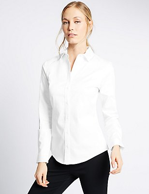 Curved Hem Long Sleeve Work Shirt, WHITE, catlanding