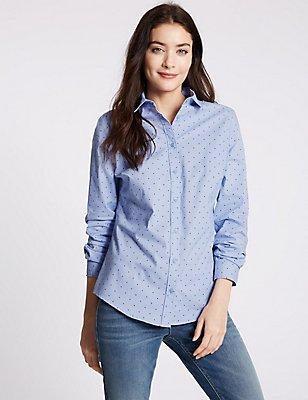 Star Print Long Sleeve Shirt, BLUE MIX, catlanding