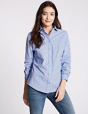 Star Print Fuller Bust Perfect Shirt, BLUE MIX, catlanding