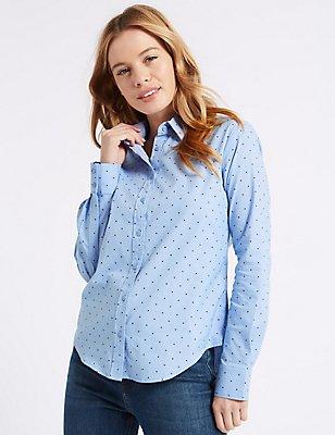 PETITE Cotton Rich Star Print No Peep Shirt, BLUE MIX, catlanding