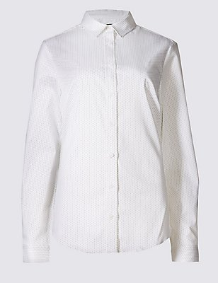 Spotted Long Sleeve Work Shirt, WHITE MIX, catlanding