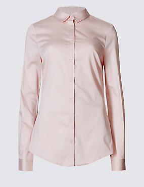 Longline Perfect Shirt, PALE PINK, catlanding