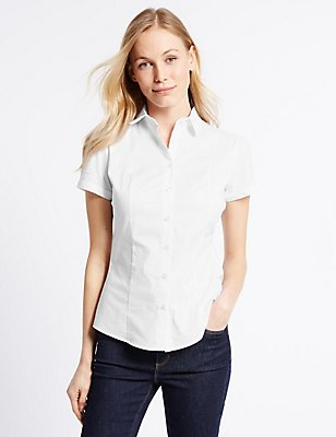 Cotton Rich Short Sleeve Shirt, WHITE, catlanding