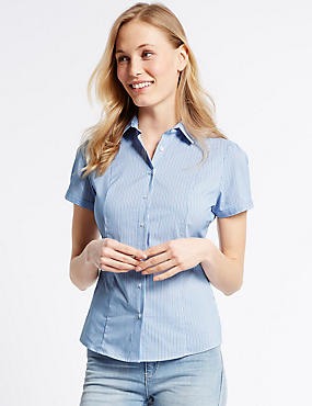 Cotton Rich Striped Short Sleeve Shirt, BLUE MIX, catlanding