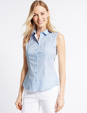 Cotton Rich Printed Fuller Bust Shirt, WHITE MIX, catlanding