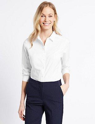 Cotton Rich Long Sleeve Shirt, WHITE, catlanding