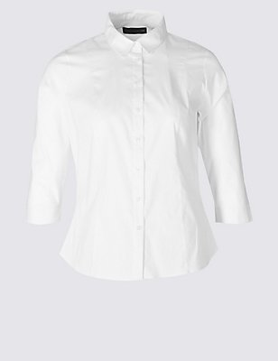 PLUS Cotton Rich 3/4 Sleeve Shirt, WHITE, catlanding