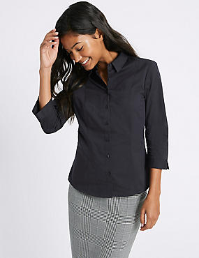 Cotton Rich 3/4 Sleeve Fuller Bust Shirt, NAVY, catlanding