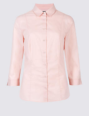 Cotton Rich 3/4 Sleeve Fuller Bust Shirt, PALE PINK, catlanding