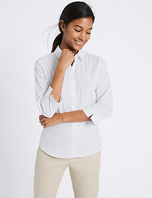 Cotton Rich 3/4 Sleeve Fuller Bust Shirt, WHITE, catlanding