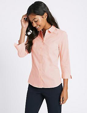 Cotton Rich No Peep Shirt, PALE PINK, catlanding