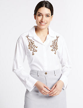 Pure Cotton Embellished Long Sleeve Shirt, , catlanding