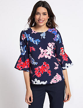 Floral Print ¾ Sleeve Blouse , NAVY MIX, catlanding