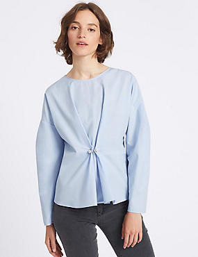 Pure Cotton Pearl Waist Shell Top, CHAMBRAY, catlanding