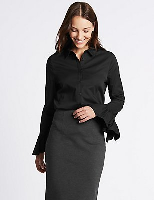 Cotton Rich Frill Cuff Shirt, BLACK, catlanding