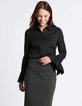 Cotton Rich Frill Cuff Shirt, BLACK, catlanding