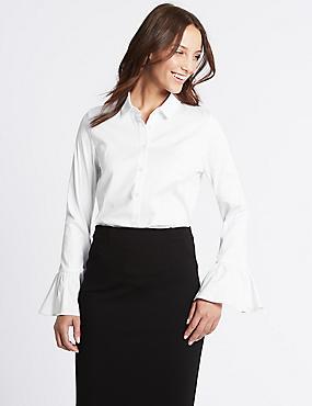 Cotton Rich Frill Cuff Shirt, , catlanding